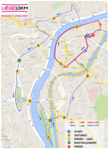 Parcours du 10km de Liège 2014